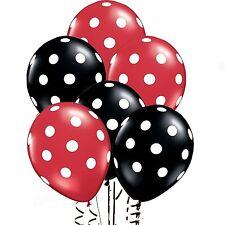 "12"" Red & Black Polka Dot Balloons Birthday Wedding Baby Shower Boy Girl baloons"