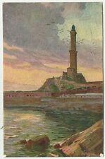 CARTOLINA antica artistica di genova la lanterna 1921