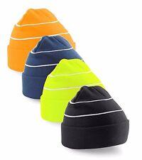 bleu orange jaune ou Noir Haute amélioré visibilité tricoté ski bonnet