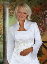 Brautjacke Brautbolero Bolerojacke Jacke zur Hochzeit Satin weiß ivory creme neu