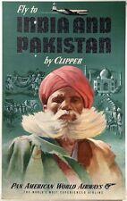 VINTAGE PAN AM India Pakistan POSTER A3/A2 Print
