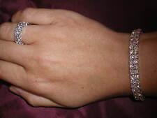 Diamonte / Diamante Crystal 2 Row Stretchy Bracelet & Matching 2 Row Ring - NEW!