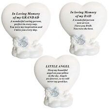 New Memorial Sleeping Angel Heart Shape Plaques Funeral Keepsakes Grave Tributes