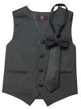 Boy's Black Satin Formal Dress Tuxedo Vest, Tie & Bow-Tie Set. Wedding