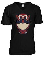 Cartoon Owl with Moustache - Cute Stache Facial Hair Funny Mens V-neck T-shirt