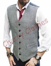 Homme Mélange Laine Tweed Noir & Blanc Gris gris Dogtooth gilet gilet M L XL XXL