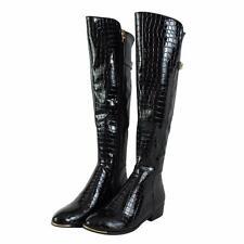 New Womens Ladies Mid Block Heel Zip Crocodile Print Upper Biker Calf Knee Boots