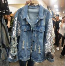 Womens Ladies Fashion Sequin Ripped Denim Jeans Loose Jacket Coat Outwear RWBN
