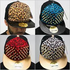 Bling stud snapback caps, leopard velours plat pic chapeaux haut qualité Premium Or
