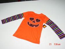 NWT Girls Halloween T Shirt Orange Pumpkin Heart Glitter Striped Sleeve Colorful