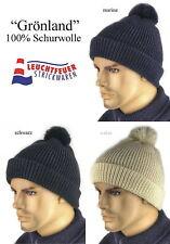 Wollmütze Pudelmütze Mütze GRÖNLAND 100% Schurwolle