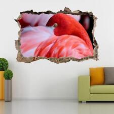 Red Flamingo 3D Smashed Wall Sticker Decal Decor Art Mural Animals Birds J883