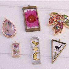 10Pcs Geometric Hollow Pressed Flower Resin Blank Frames Pendants Jewelry Making
