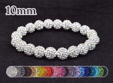 10mm Pave Crystal Disco Ball Rhinestone Bead Adjustable Stretch Bracelet