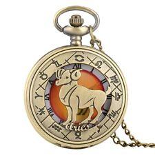 Bronze Twelve Constellation Hollow Bronze Quartz Pocket Watch with Chain Gift