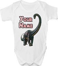Diplodocus Dinosaures personnalisé bébé gilet / gro / body * Grand Cadeau & nommé *
