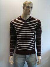 Para hombre Jersey V-Cuello wool/cotton mezcla Stripe jumper/sweater Entrega Gratis