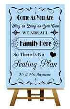 Blue No Seating Plan Personalised Wedding Sign / Poster