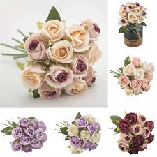 12 Heads Silk Artificial Flowers Rose Bouquet Bridal Wedding Party Home Decor