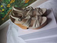 COACH Women Beige Platform Wedge Leather Shoes Sandals SZ 9B NWB