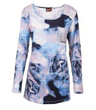Aprico Shirt Damen Hellblau Langarm Pailletten Viskose BatikPrint 40 42 44 46 48