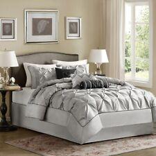 Posh 7pc Grey & Black Pleated Comforter Set AND Decorative Pillows