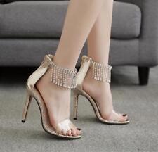 Womens Clear Rhinestone Tassel High Heels Sandals Peep Toe Zip Stiletto Shoes Sz