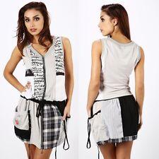 732 Sexy Contrast Print Sleeveless Pockets Zip Front Tunic/Dress Size S/M & M/L