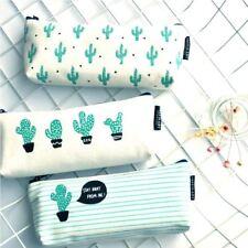 Precioso Estampado De Cactus Lápiz Pluma Maquillaje Cosmético Caso Bolsa De Almacenamiento Bolso Cartera UK