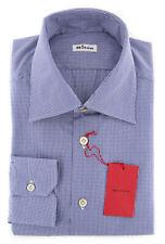 New $600 Kiton Blue Fancy Shirt - Slim - (KT9251713)