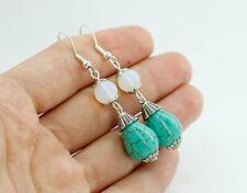 Boho Tibetan Silver Turquoise Dangle Drop Hook Earrings Women's Vintage Jewelry