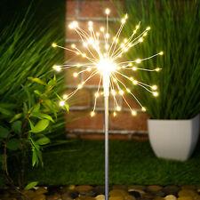 120 LED Solar Powered Firework Starburst Stake Light Warm White Garden Outdoor