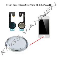 Bouton Home Couleur Blanc Avec Contour Argenté Pour iPhone 4S + Nappe Home