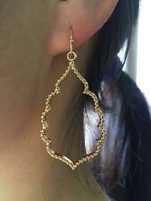 Gold Filigree Moroccan Cut Open Quatrefoil Clover Drop Chandelier Earrings Women