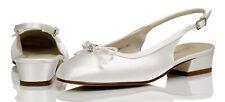 blanco de raso de Dama De Honor Flor Niña Boda Zapatos talla 12,13, 1,2, 3,4, 5