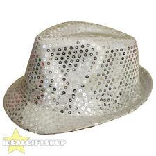 Argent unisexe sequin fedora chapeau trilby mj déguisements hen party stag do gangster