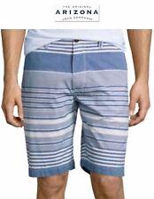 NWT 38 & 40 Arizona Jeans Men Flat Front Striped Blue White Shorts 100% Cotton