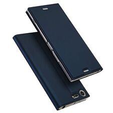 Sony Xperia XZ1 XZ Premium PU Leather Flip Case Cover+Fixed Clear TPU Bumper New