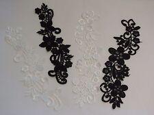 Negro o Marfil Nupcial Boda vestido floral encaje y apliques/Encaje Motif para la venta