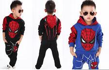 2PCS Toddler Baby Boys Spiderman Outfits coat jacket +Pants Casual Clothing set