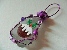 christmas plum pudding cake - Hand painted sea glass holiday tree decoration