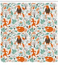 Fox Shower Curtain Cute Funny Figures Garden Print for Bathroom