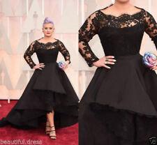 Plus size New Black satin lace sleeves formal Bridal Gown wedding Dress Custom