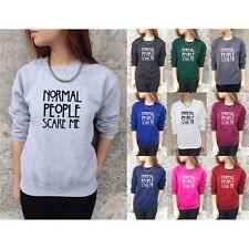 Ladies Womens Normal People Scare Me Print Knitted Jumper Sweater Sweatshirt Top