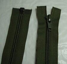 YKK Nylon Coil Zip, Open End, Size 5 various lengths, Army Green
