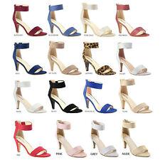 Women Classic Open Toe Pump Sandal Elastic Ankle Strap Med High Stiletto Heel US