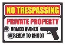 No Trespassing Second Amendment Gun Bullet Warning Property Security sticker