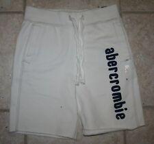 NWT Abercrombie Boys Small 7/8 White Logo Sweat Shorts
