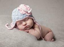 Hand Crochet Knitted Baby Earflap Hat Flower Photo Prop Girl Cotton Newborn-12M