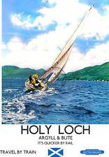 Vintage Railway Poster voile Holy Loch Argyll Bute Rétro Art Imprimé Scotland